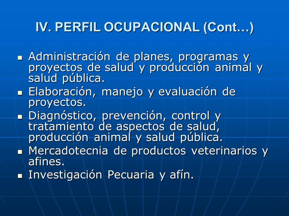 IV. PERFIL OCUPACIONAL (Cont…) Administración de planes, programas y proyectos de salud y producción animal y salud pública. Administración de planes,