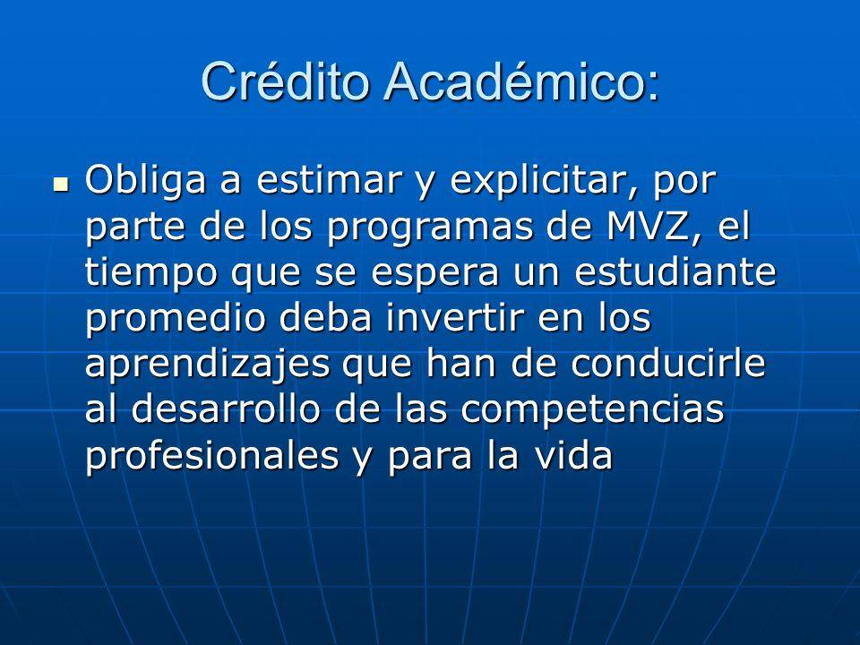 Crédito Académico: Obliga a estimar y explicitar, por parte de los programas de MVZ, el tiempo que se espera un estudiante promedio deba invertir en l