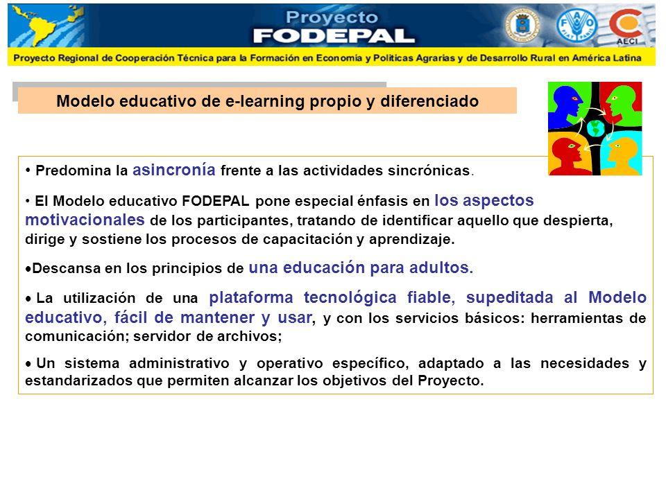 Modelo educativo de e-learning propio y diferenciado Predomina la asincronía frente a las actividades sincrónicas. El Modelo educativo FODEPAL pone es