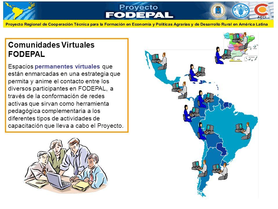 Comunidades Virtuales FODEPAL Espacios permanentes virtuales que están enmarcadas en una estrategia que permita y anime el contacto entre los diversos participantes en FODEPAL, a través de la conformación de redes activas que sirvan como herramienta pedagógica complementaria a los diferentes tipos de actividades de capacitación que lleva a cabo el Proyecto.