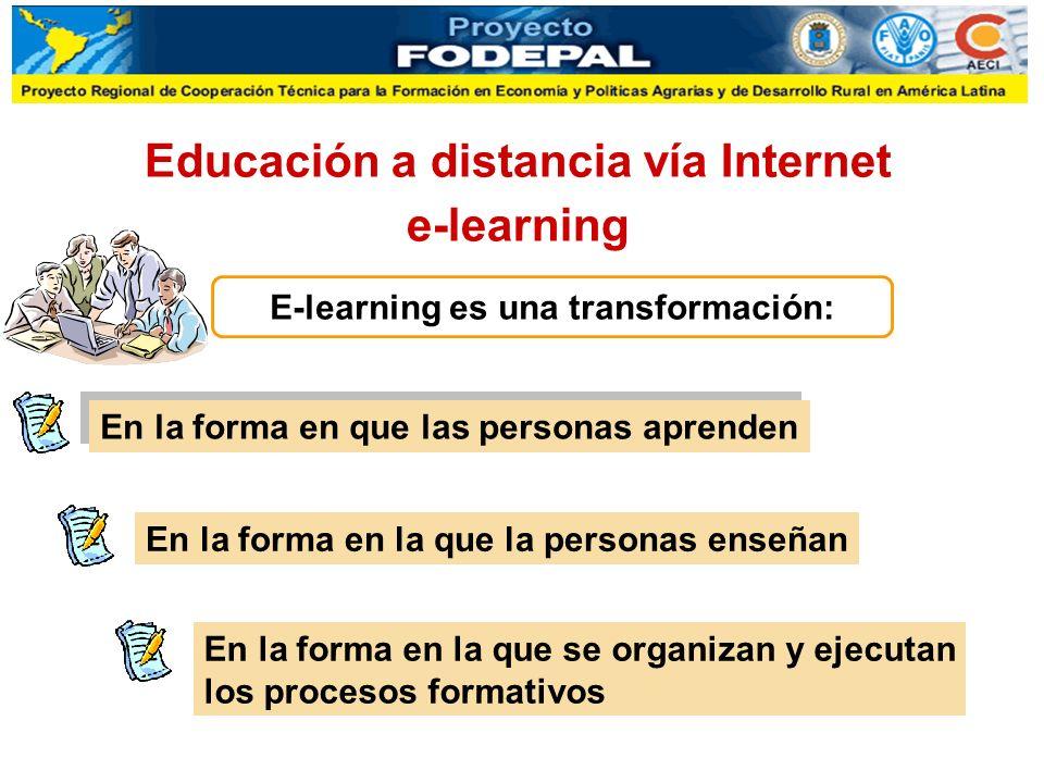 Educación a distancia vía Internet e-learning E-learning es una transformación: En la forma en que las personas aprenden En la forma en la que la personas enseñan En la forma en la que se organizan y ejecutan los procesos formativos
