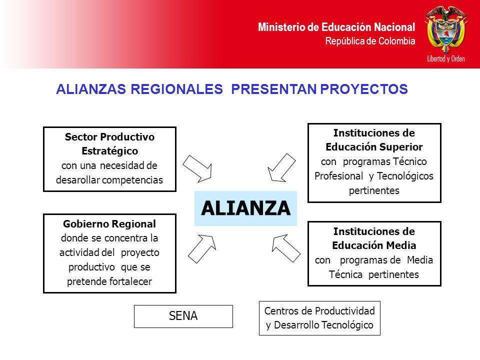 Ministerio de Educación Nacional República de Colombia ALIANZAS REGIONALES PRESENTAN PROYECTOS Sector Productivo Estratégico con una necesidad de desa