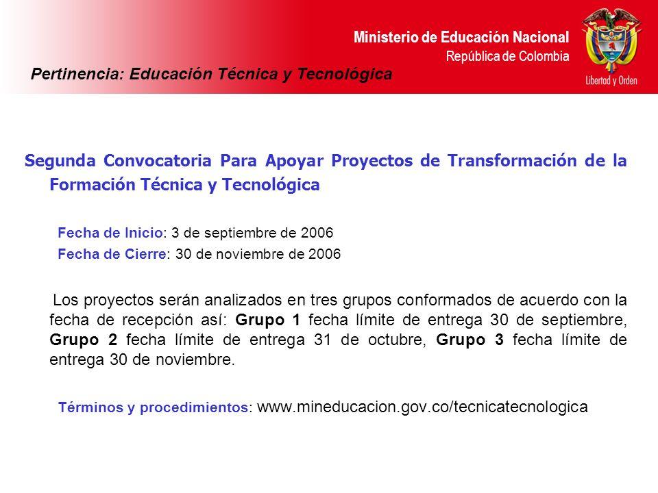 Ministerio de Educación Nacional República de Colombia Segunda Convocatoria Para Apoyar Proyectos de Transformación de la Formación Técnica y Tecnológ