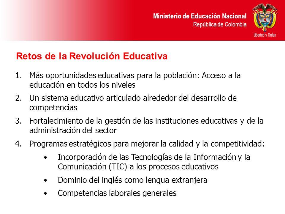 Ministerio de Educación Nacional República de Colombia Retos de la Revolución Educativa 1.Más oportunidades educativas para la población: Acceso a la