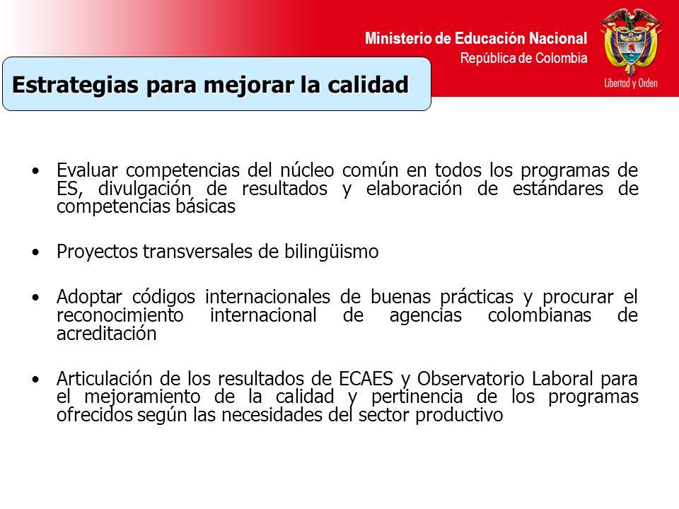 Ministerio de Educación Nacional República de Colombia Evaluar competencias del núcleo común en todos los programas de ES, divulgación de resultados y
