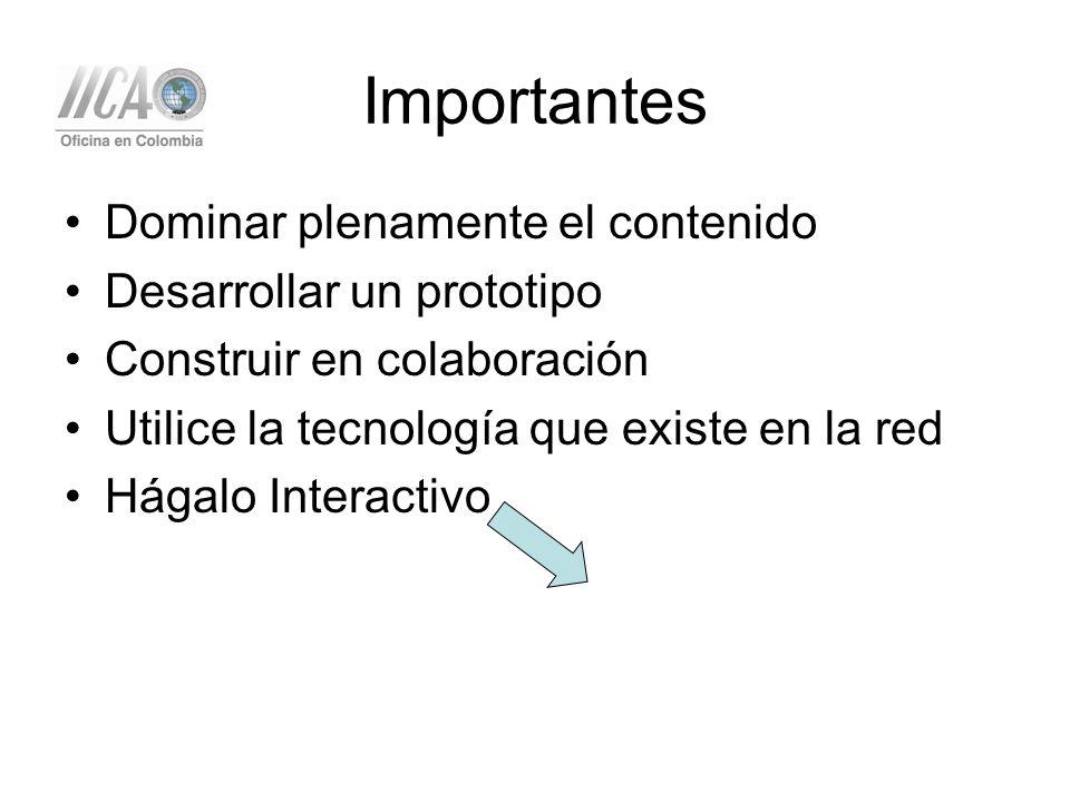 Importantes Dominar plenamente el contenido Desarrollar un prototipo Construir en colaboración Utilice la tecnología que existe en la red Hágalo Interactivo