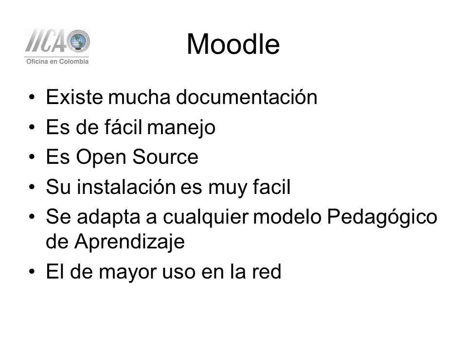 Moodle Existe mucha documentación Es de fácil manejo Es Open Source Su instalación es muy facil Se adapta a cualquier modelo Pedagógico de Aprendizaje El de mayor uso en la red