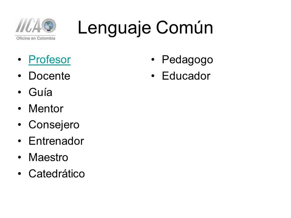 Lenguaje Común Profesor Docente Guía Mentor Consejero Entrenador Maestro Catedrático Pedagogo Educador