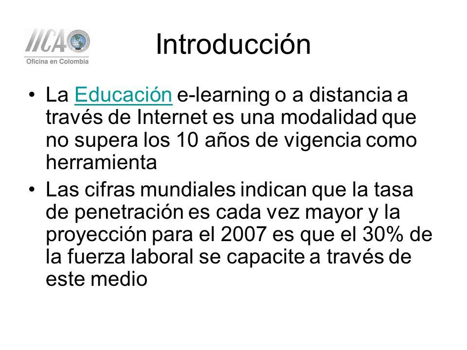 Introducción La Educación e-learning o a distancia a través de Internet es una modalidad que no supera los 10 años de vigencia como herramientaEducación Las cifras mundiales indican que la tasa de penetración es cada vez mayor y la proyección para el 2007 es que el 30% de la fuerza laboral se capacite a través de este medio