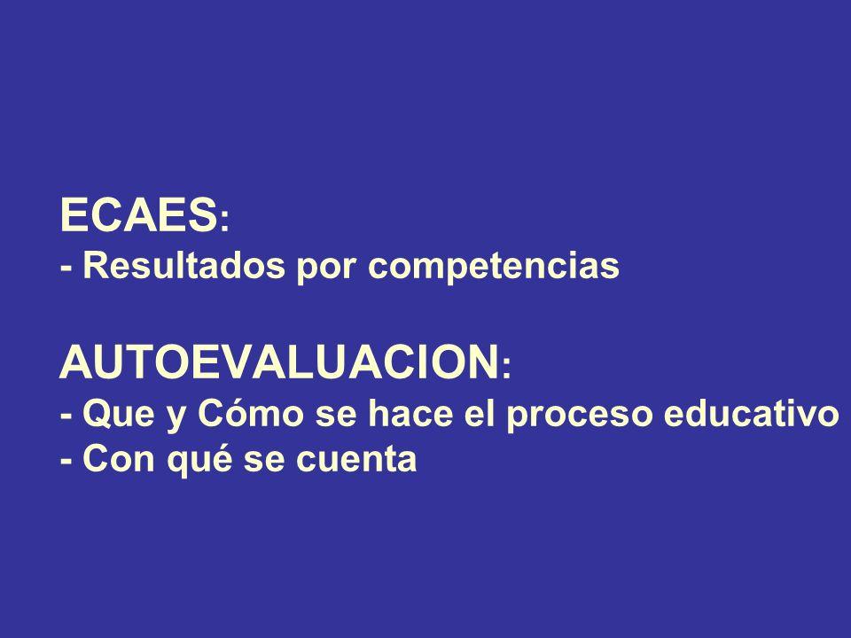 ECAES : - Resultados por competencias AUTOEVALUACION : - Que y Cómo se hace el proceso educativo - Con qué se cuenta