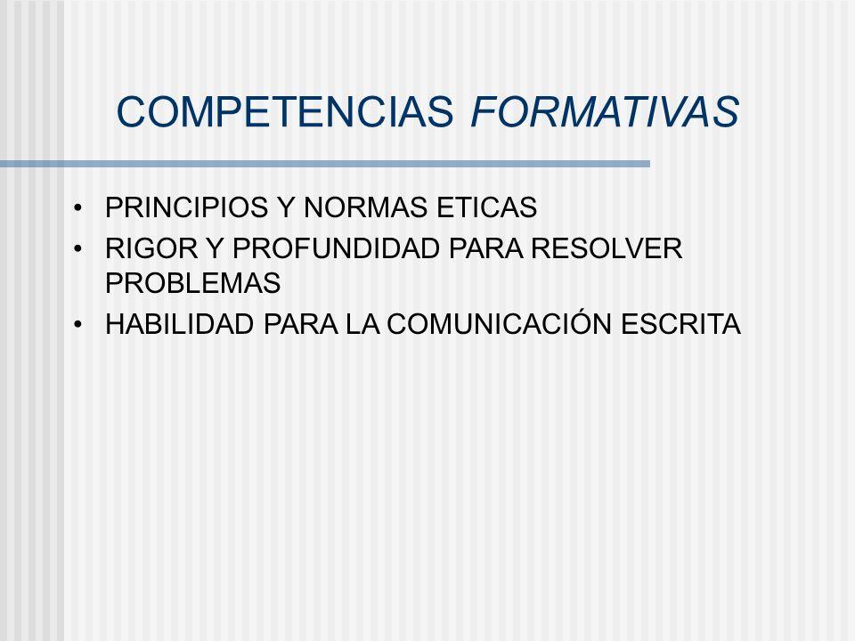 COMPETENCIAS FORMATIVAS PRINCIPIOS Y NORMAS ETICAS RIGOR Y PROFUNDIDAD PARA RESOLVER PROBLEMAS HABILIDAD PARA LA COMUNICACIÓN ESCRITA