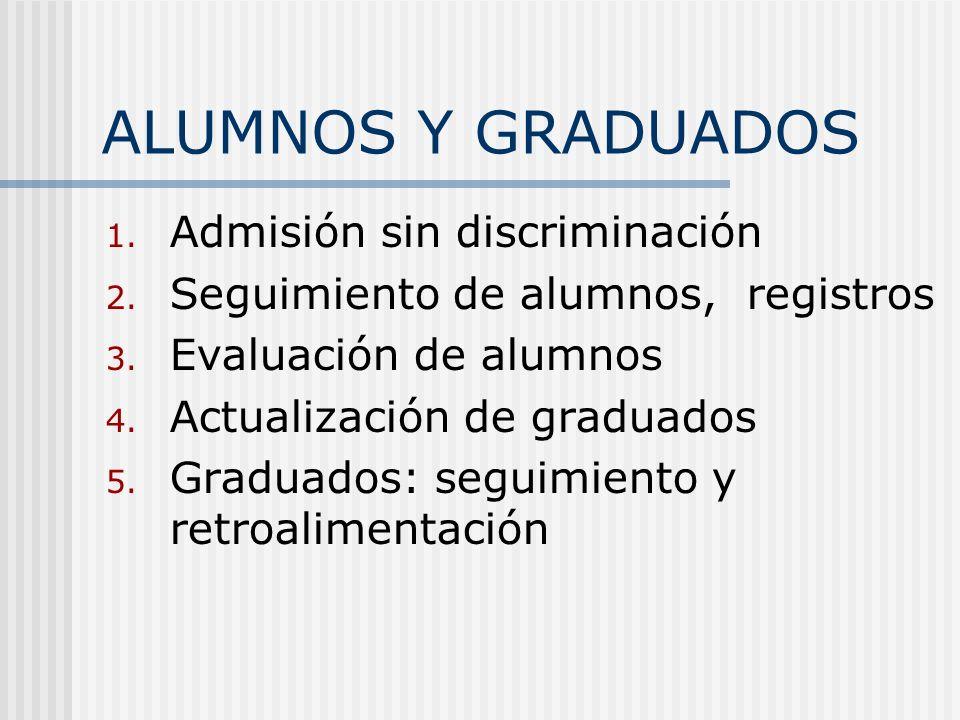ALUMNOS Y GRADUADOS 1. Admisión sin discriminación 2. Seguimiento de alumnos, registros 3. Evaluación de alumnos 4. Actualización de graduados 5. Grad