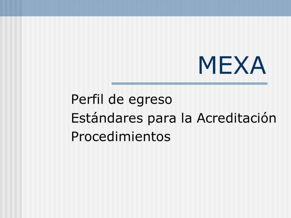 MEXA Perfil de egreso Estándares para la Acreditación Procedimientos