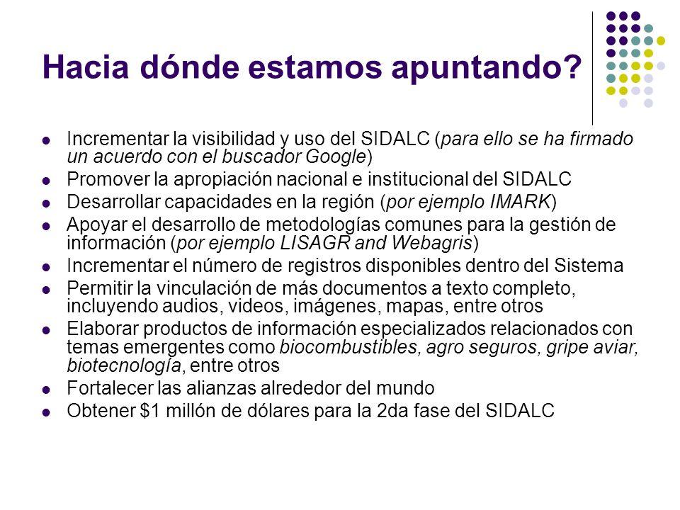 Hacia dónde estamos apuntando? Incrementar la visibilidad y uso del SIDALC (para ello se ha firmado un acuerdo con el buscador Google) Promover la apr