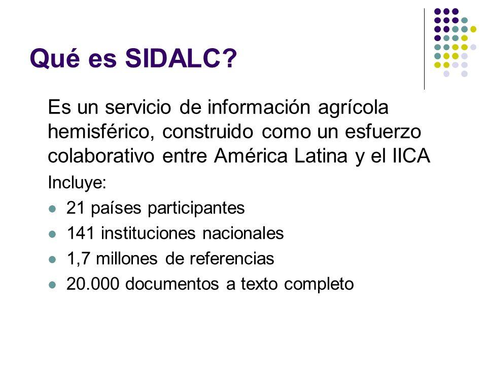 Qué es SIDALC? Es un servicio de información agrícola hemisférico, construido como un esfuerzo colaborativo entre América Latina y el IICA Incluye: 21