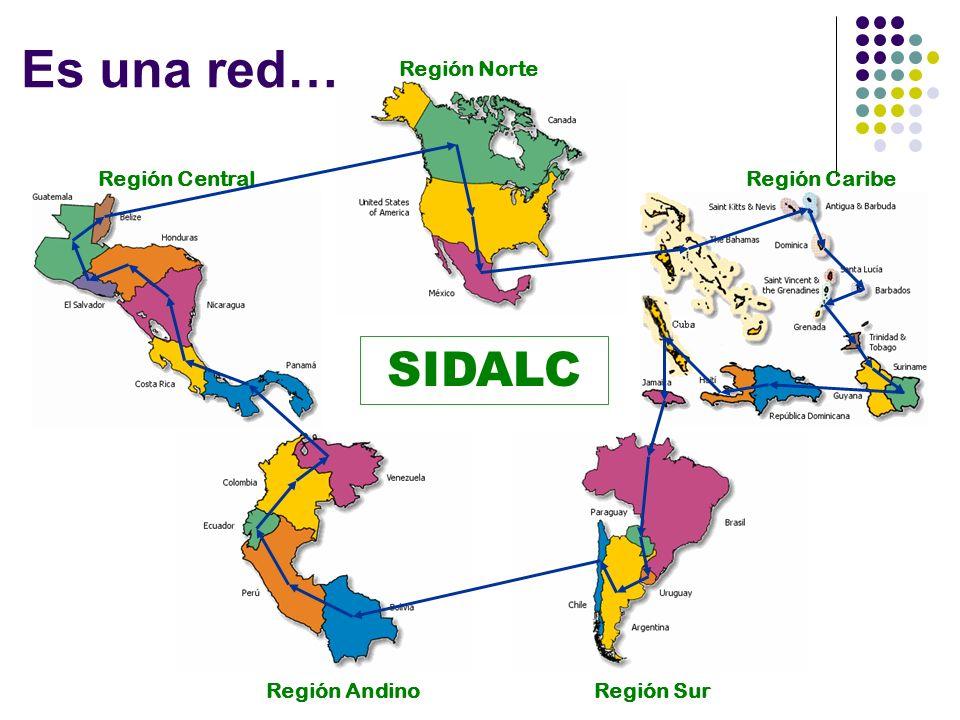 Estrategia Región Central Región Norte Región Caribe Región SurRegión Andino SIDALC Es una red…
