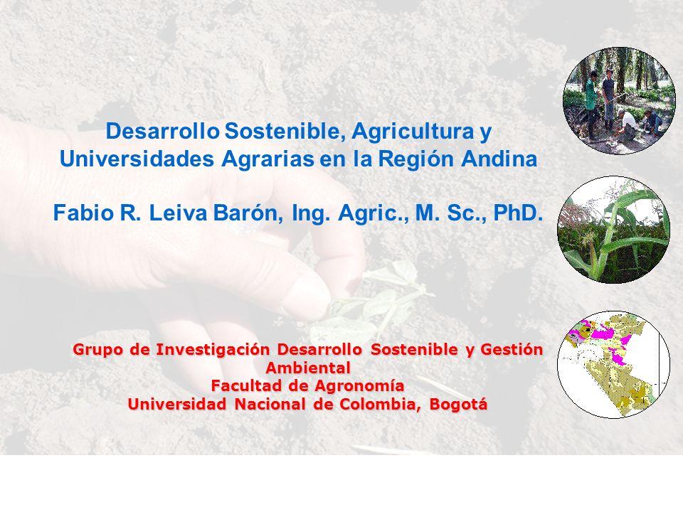 Desarrollo Sostenible, Agricultura y Universidades Agrarias en la Región Andina Fabio R. Leiva Barón, Ing. Agric., M. Sc., PhD. Grupo de Investigación