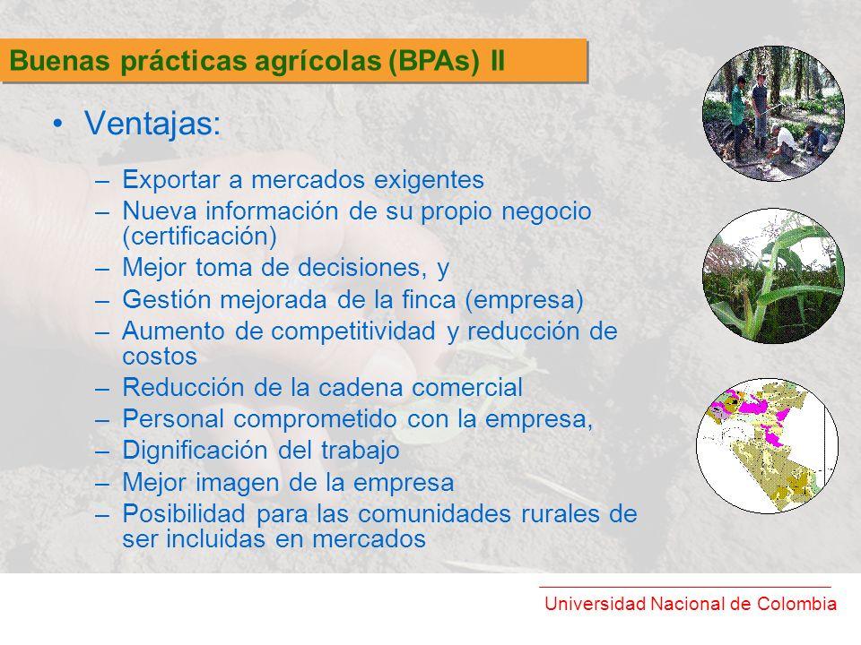 Universidad Nacional de Colombia Ventajas: –Exportar a mercados exigentes –Nueva información de su propio negocio (certificación) –Mejor toma de decis