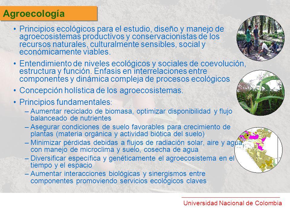 Universidad Nacional de Colombia Principios ecológicos para el estudio, diseño y manejo de agroecosistemas productivos y conservacionistas de los recu