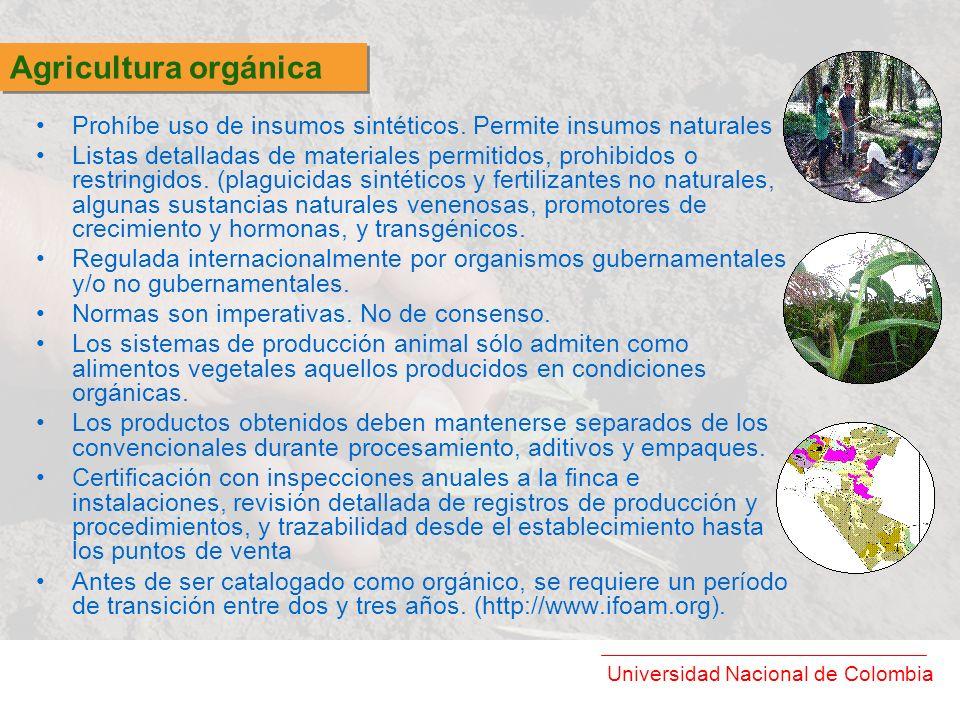 Universidad Nacional de Colombia Prohíbe uso de insumos sintéticos. Permite insumos naturales Listas detalladas de materiales permitidos, prohibidos o