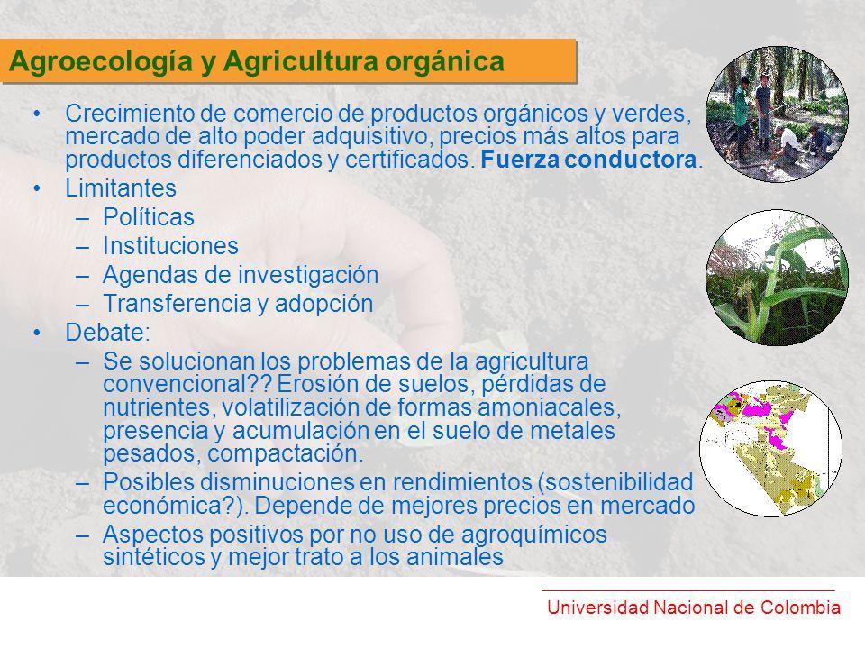 Universidad Nacional de Colombia Crecimiento de comercio de productos orgánicos y verdes, mercado de alto poder adquisitivo, precios más altos para pr