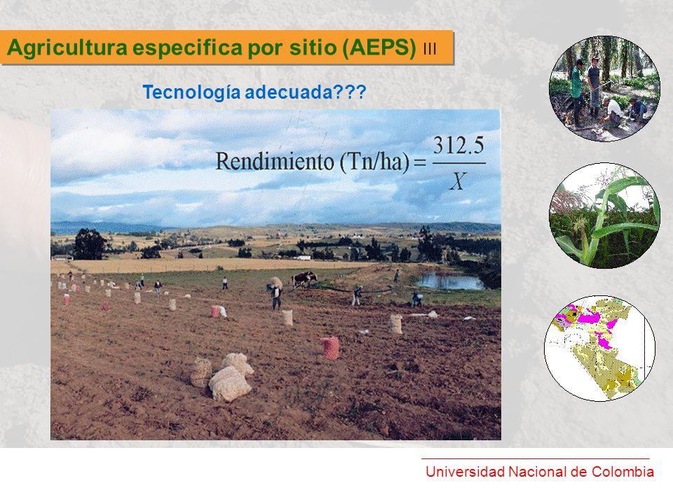Universidad Nacional de Colombia Agricultura especifica por sitio (AEPS) III Tecnología adecuada???