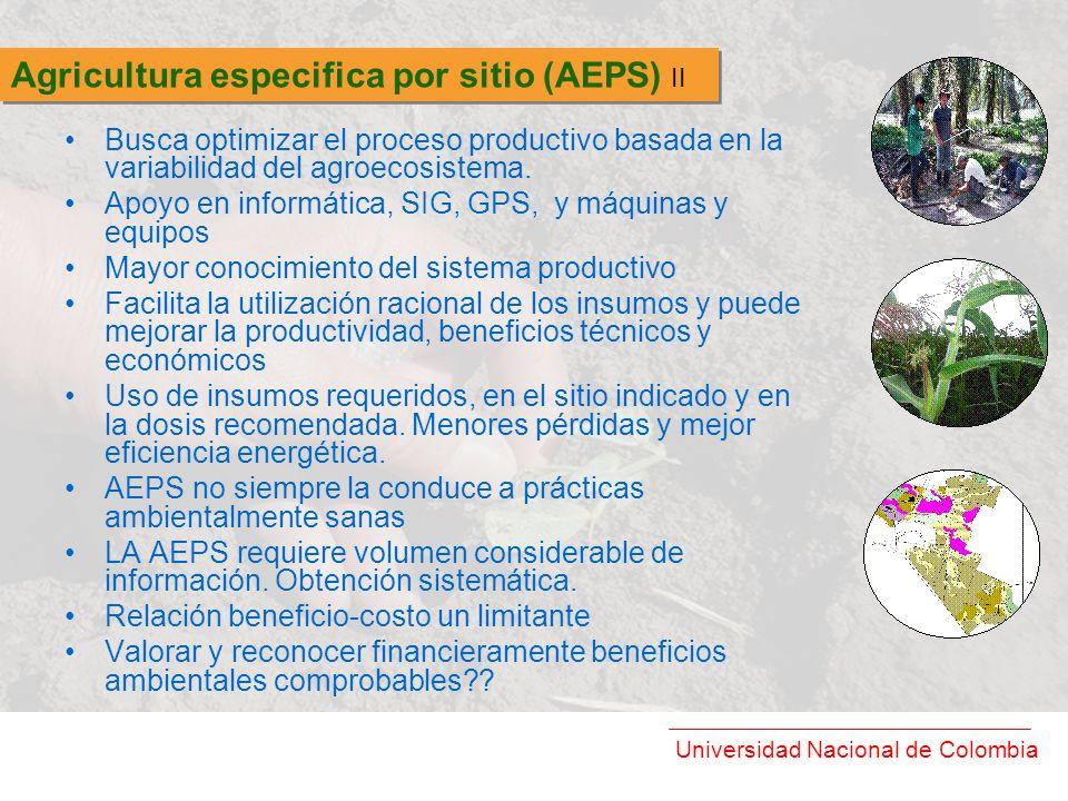 Universidad Nacional de Colombia Busca optimizar el proceso productivo basada en la variabilidad del agroecosistema. Apoyo en informática, SIG, GPS, y