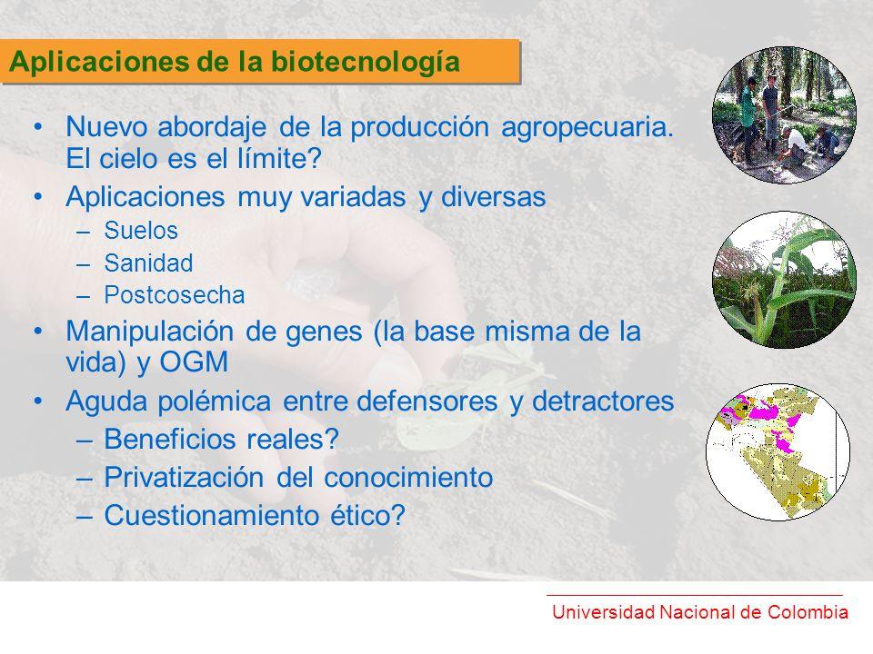 Universidad Nacional de Colombia Nuevo abordaje de la producción agropecuaria. El cielo es el límite? Aplicaciones muy variadas y diversas –Suelos –Sa