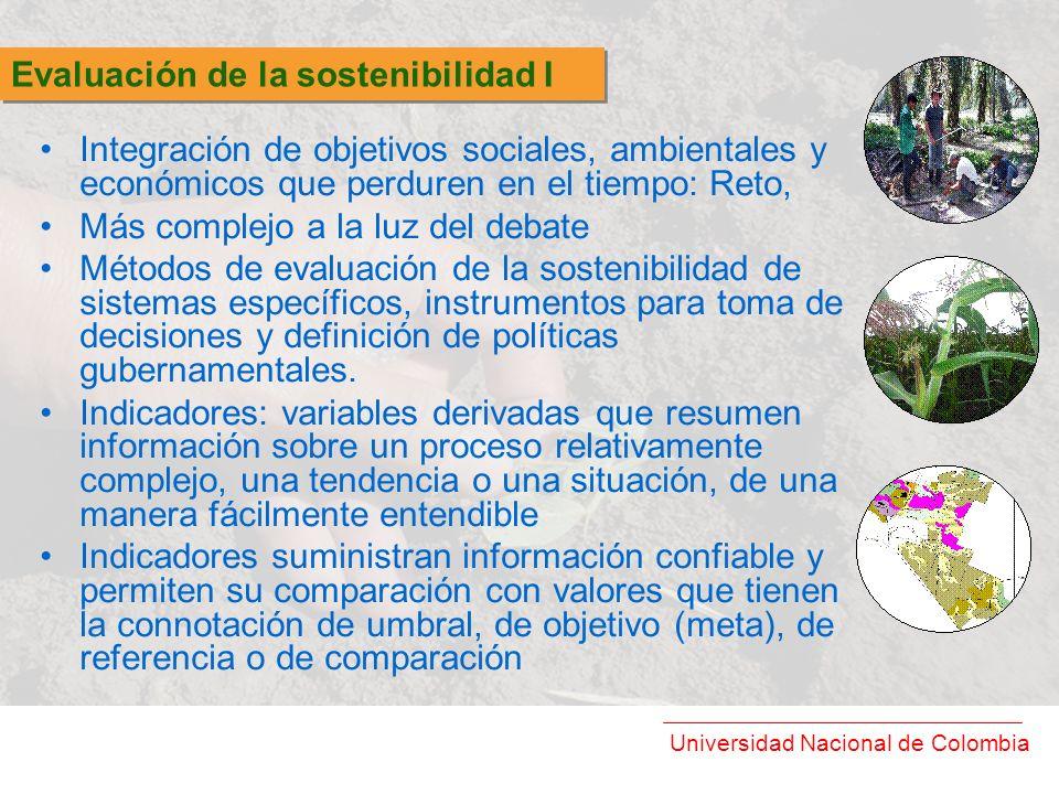 Universidad Nacional de Colombia Integración de objetivos sociales, ambientales y económicos que perduren en el tiempo: Reto, Más complejo a la luz de