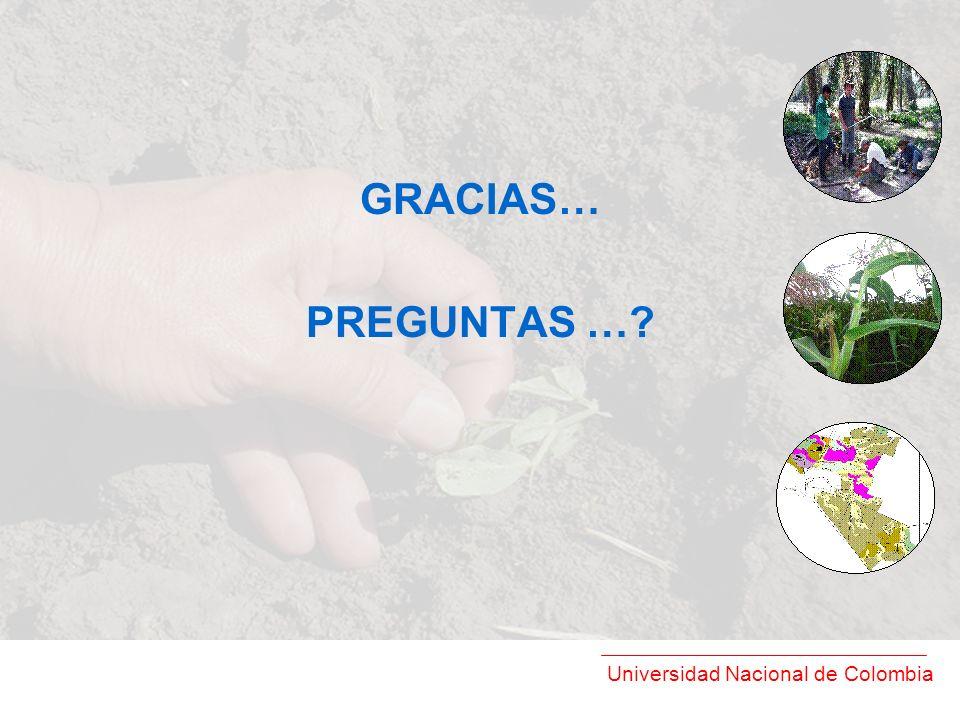 Universidad Nacional de Colombia GRACIAS… PREGUNTAS …?