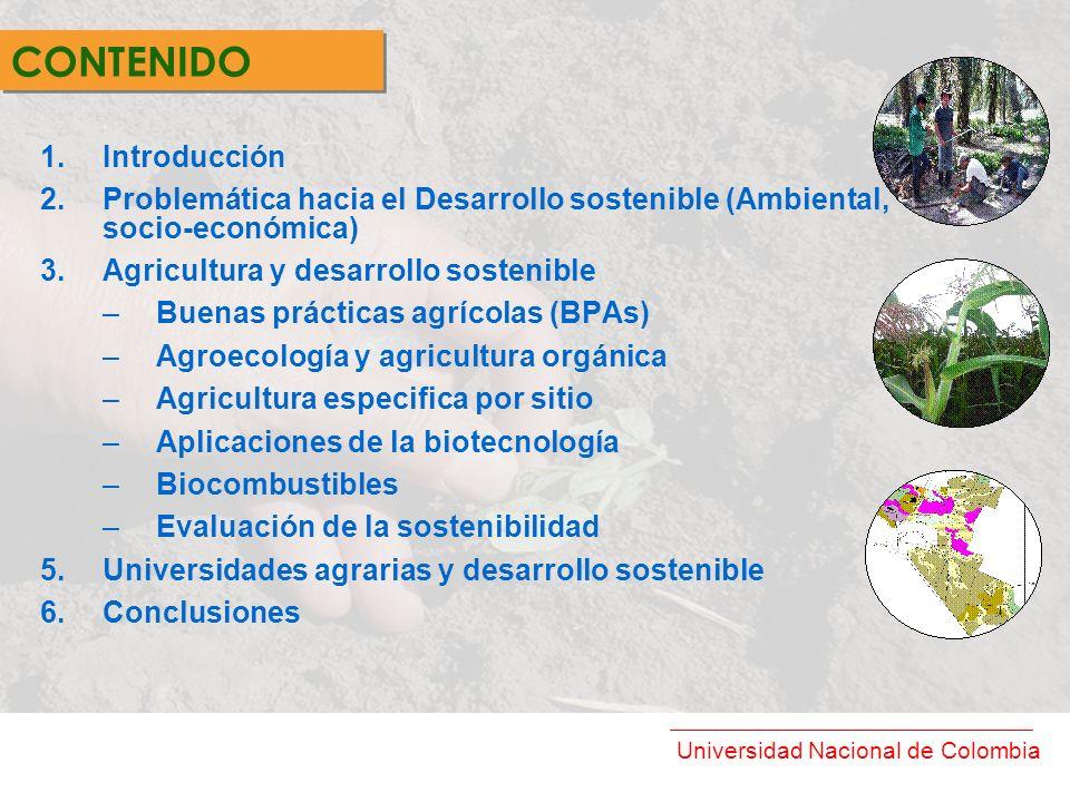 Universidad Nacional de Colombia 1.Introducción 2.Problemática hacia el Desarrollo sostenible (Ambiental, socio-económica) 3.Agricultura y desarrollo