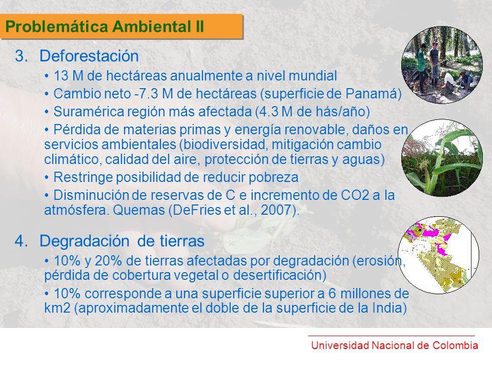 Universidad Nacional de Colombia 3.Deforestación 13 M de hectáreas anualmente a nivel mundial Cambio neto -7.3 M de hectáreas (superficie de Panamá) S