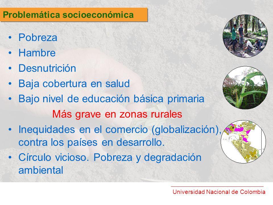 Universidad Nacional de Colombia Pobreza Hambre Desnutrición Baja cobertura en salud Bajo nivel de educación básica primaria Más grave en zonas rurale