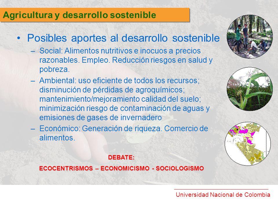 Universidad Nacional de Colombia Posibles aportes al desarrollo sostenible –Social: Alimentos nutritivos e inocuos a precios razonables. Empleo. Reduc