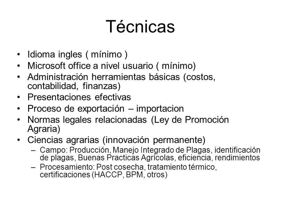 Técnicas Idioma ingles ( mínimo ) Microsoft office a nivel usuario ( mínimo) Administración herramientas básicas (costos, contabilidad, finanzas) Pres