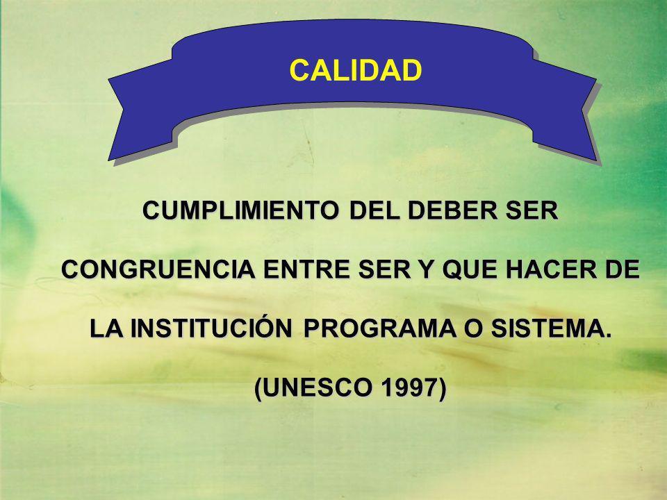 CUMPLIMIENTO DEL DEBER SER CONGRUENCIA ENTRE SER Y QUE HACER DE LA INSTITUCIÓN PROGRAMA O SISTEMA. (UNESCO 1997) CALIDAD