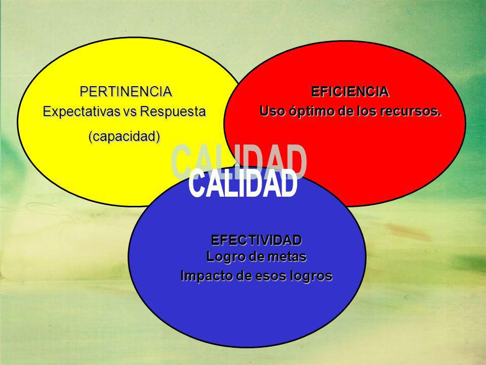 EFICIENCIA Uso óptimo de los recursos. PERTINENCIA PERTINENCIA Expectativas vs Respuesta (capacidad) EFECTIVIDAD Logro de metas Impacto de esos logros