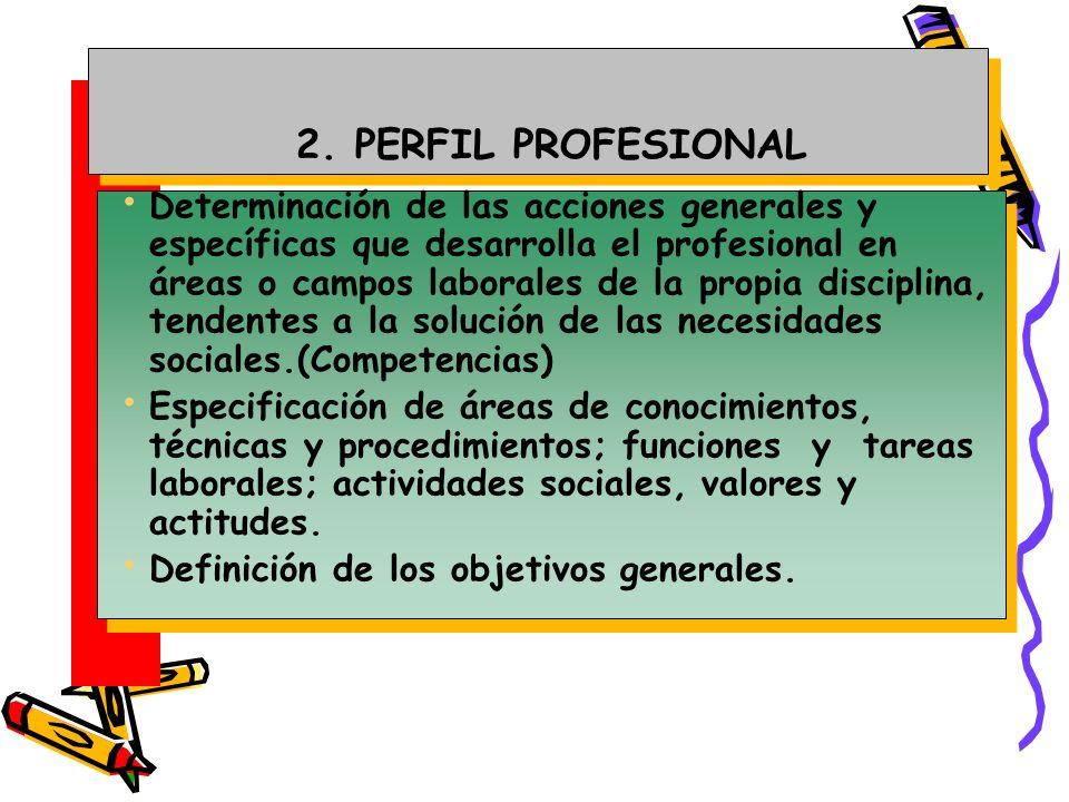 2. PERFIL PROFESIONAL Determinación de las acciones generales y específicas que desarrolla el profesional en áreas o campos laborales de la propia dis