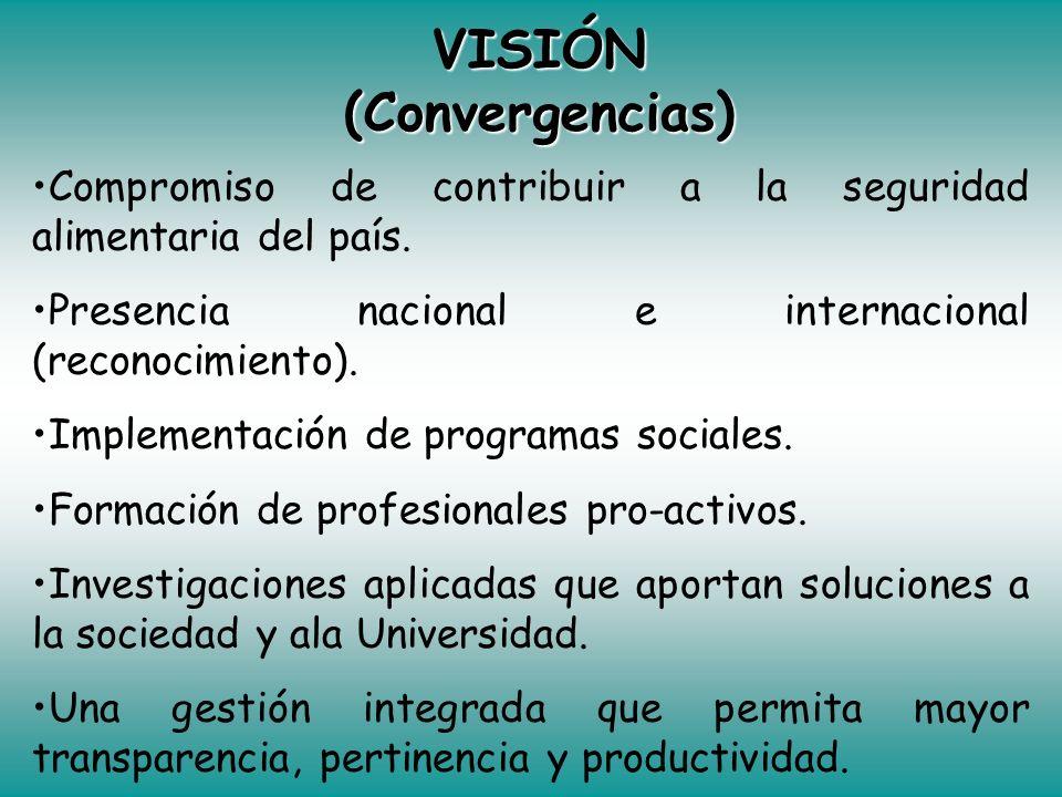 MISIÓN (Convergencias) Formación y perfeccionamiento de recursos humanos. Pertinencia social para generar, difundir y transferir conocimientos. Contri