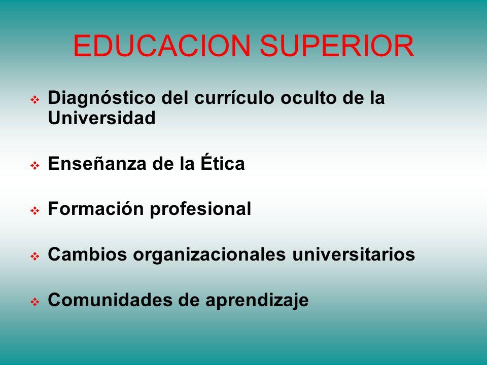 EDUCACION SUPERIOR Diagnóstico del currículo oculto de la Universidad Enseñanza de la Ética Formación profesional Cambios organizacionales universitarios Comunidades de aprendizaje