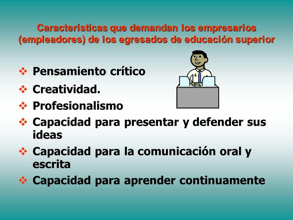 Características que demandan los empresarios (empleadores) de los egresados de educación superior Pensamiento crítico Creatividad.