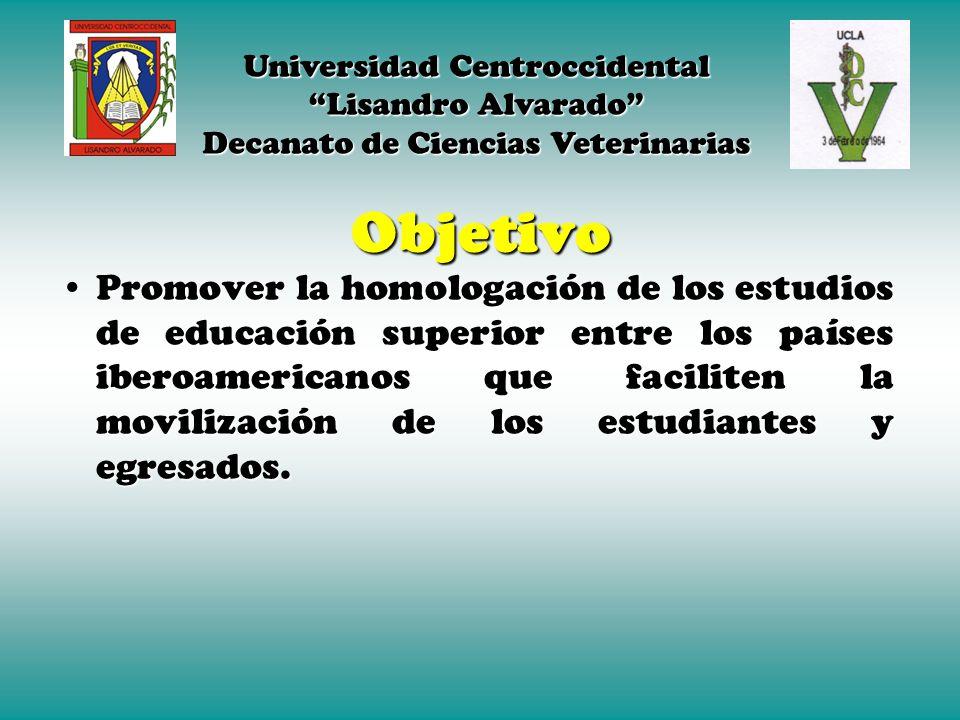 Objetivo Promover la homologación de los estudios de educación superior entre los países iberoamericanos que faciliten la movilización de los estudiantes y egresados.Promover la homologación de los estudios de educación superior entre los países iberoamericanos que faciliten la movilización de los estudiantes y egresados.