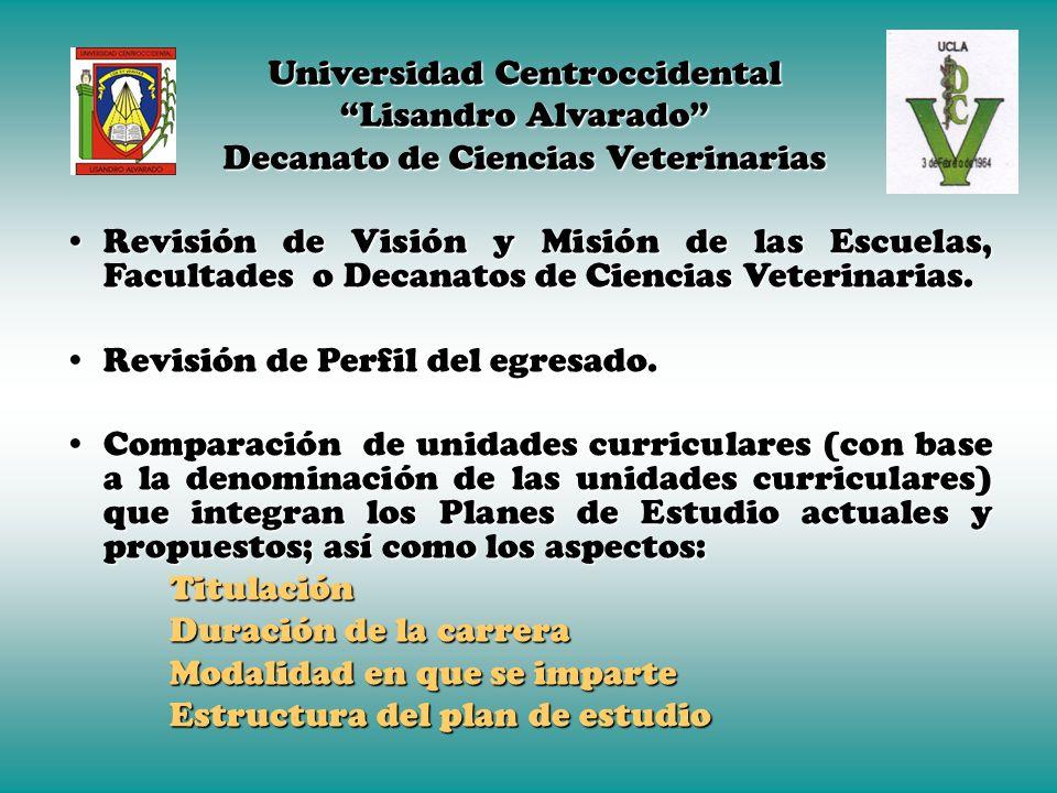Planes Curriculares en América Latina. La misión de la carrera de Medicina Veterinaria es: Promover el bienestar y la salud del hombre mediante la inv