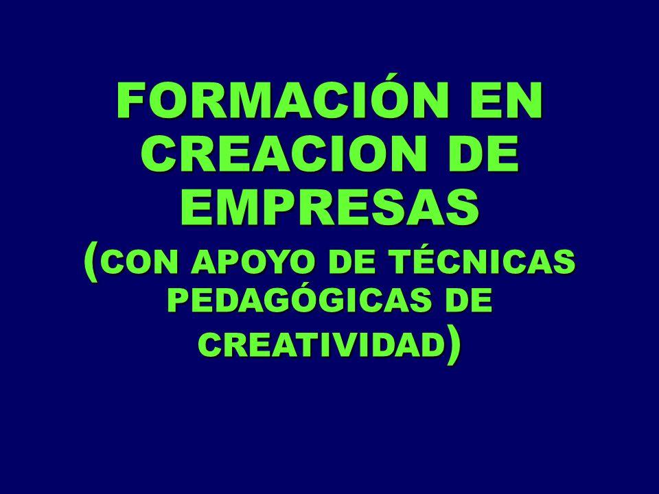 FORMACIÓN EN CREACION DE EMPRESAS ( CON APOYO DE TÉCNICAS PEDAGÓGICAS DE CREATIVIDAD )