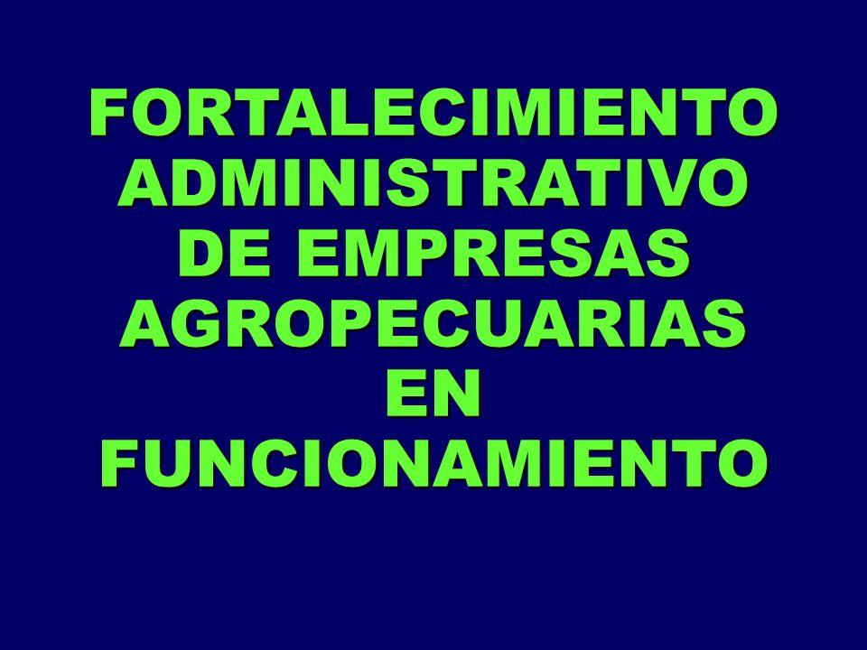 FORTALECIMIENTO ADMINISTRATIVO DE EMPRESAS AGROPECUARIAS EN FUNCIONAMIENTO