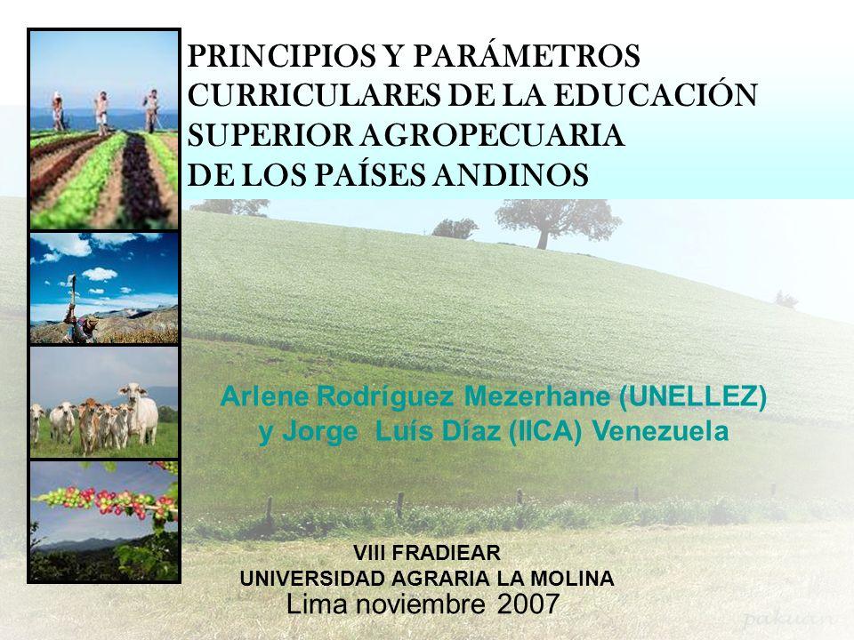 Lima noviembre 2007 PRINCIPIOS Y PARÁMETROS CURRICULARES DE LA EDUCACIÓN SUPERIOR AGROPECUARIA DE LOS PAÍSES ANDINOS VIII FRADIEAR UNIVERSIDAD AGRARIA