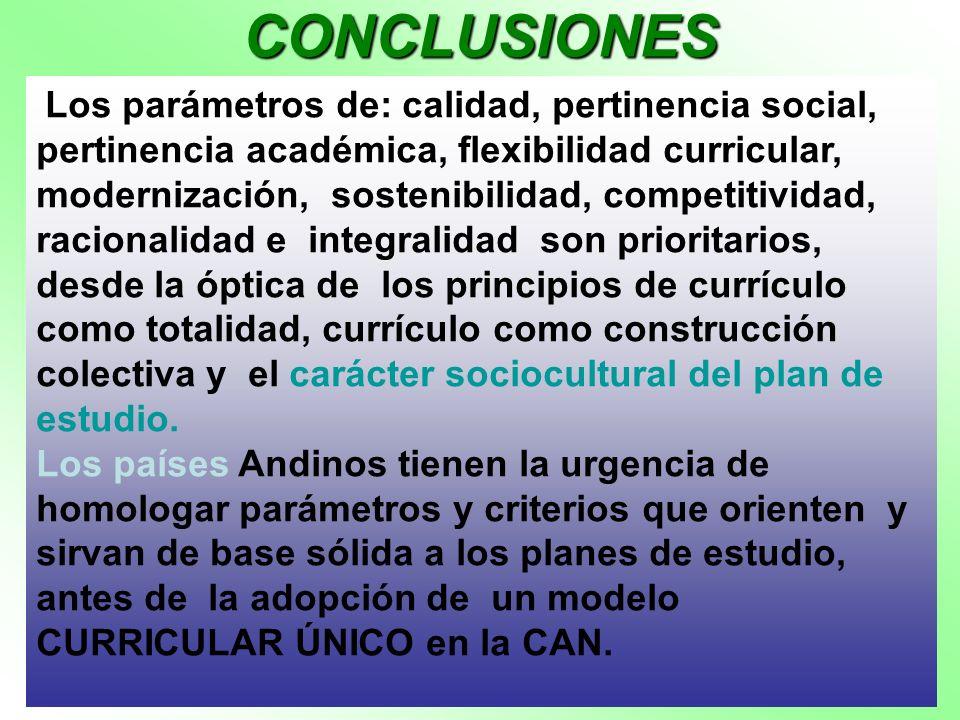CONCLUSIONES Los parámetros de: calidad, pertinencia social, pertinencia académica, flexibilidad curricular, modernización, sostenibilidad, competitiv