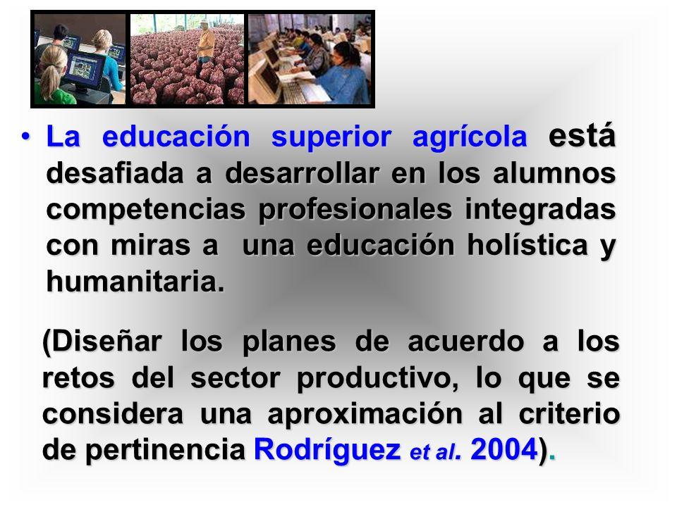 La educación superior agrícola está desafiada a desarrollar en los alumnos competencias profesionales integradas con miras a una educación holística y