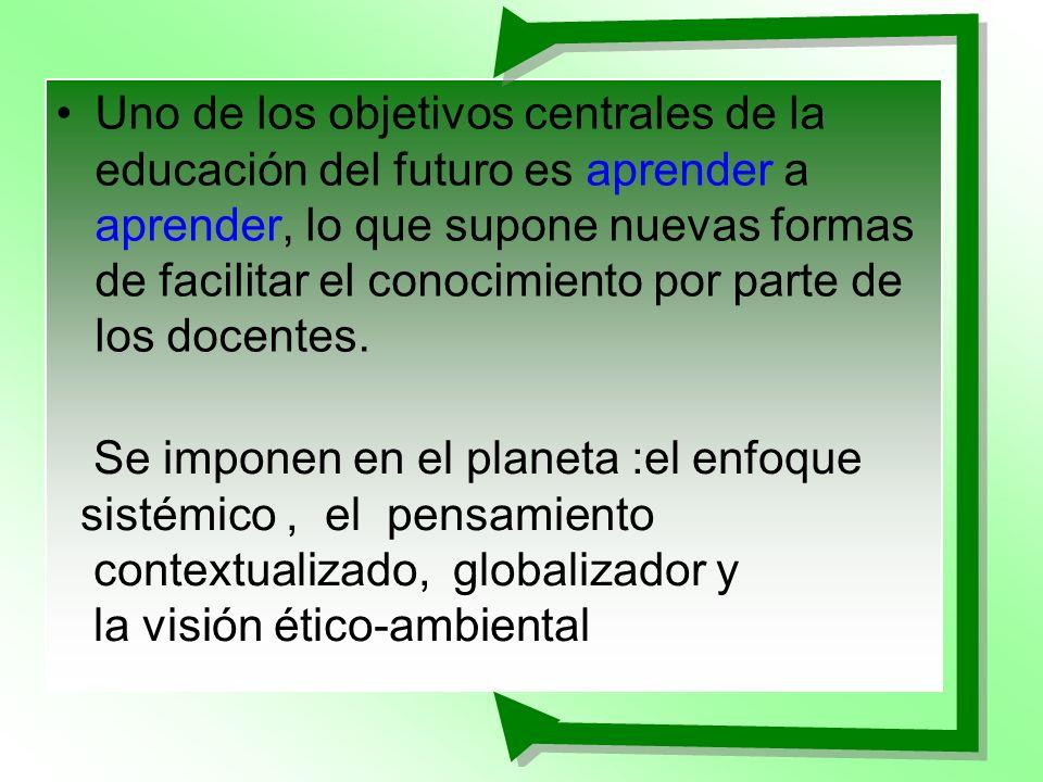 Uno de los objetivos centrales de la educación del futuro es aprender a aprender, lo que supone nuevas formas de facilitar el conocimiento por parte d