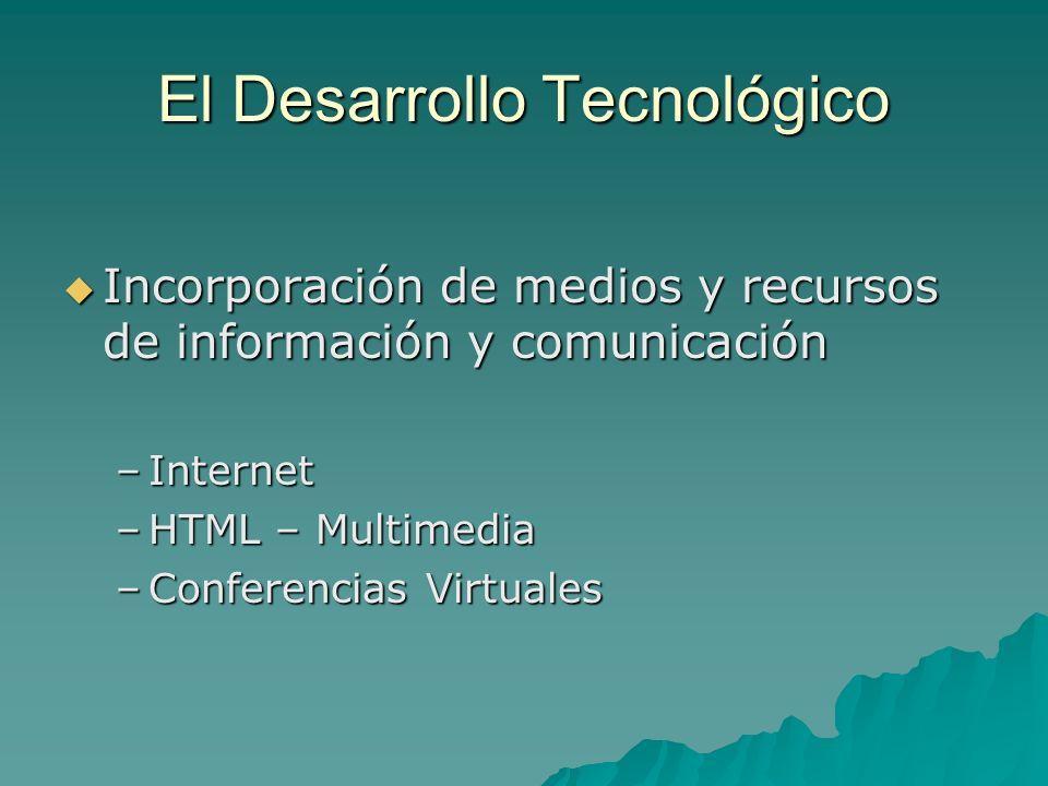 El Desarrollo Tecnológico Incorporación de medios y recursos de información y comunicación Incorporación de medios y recursos de información y comunic